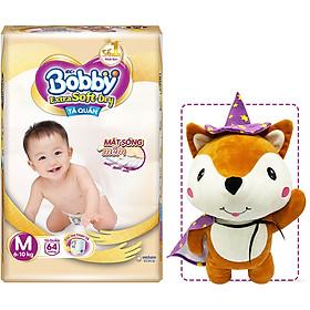 Tã Quần Cao Cấp Bobby Extra Soft Dry M64 (64 miếng) - Tặng 1 cáo bông xinh xắn