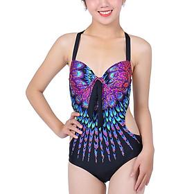 Bikini 1 Mảnh Monica Họa Tiết Công BIT 3006 - Tím Xanh (Free Size)