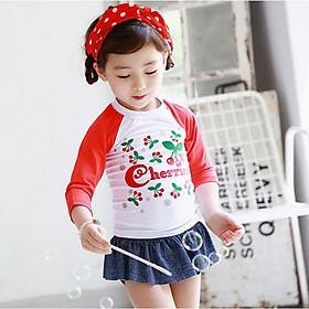 Bộ đồ bơi dài tay phối quần váy hoạ tiết cherry cho bé gái DBBG20