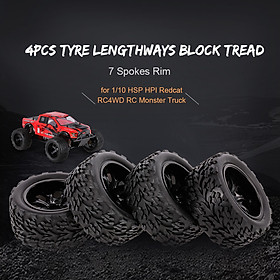 4PCS 1/10 Off-road Tyre Lengthways Block Tread Pattern 7 Spokes Rim for 1/10 HSP HPI Redcat RC4WD RC Monster Truck