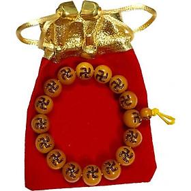 Vòng đeo tay nam nữ hạt nhựa màu vàng nâu chạm chữ vạn cầu bình an VTCV01 (hạt 10li, có kèm túi nhung cao cấp)