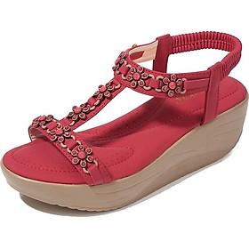 IELGY [Size36-42] Platform sandals women's elastic band 5cm slope platform large size women's shoes