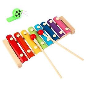 Đàn gỗ cho bé - Tặng kèm còi thổi đá banh (Đồ chơi cho bé từ 1 đến 3 tuổi)