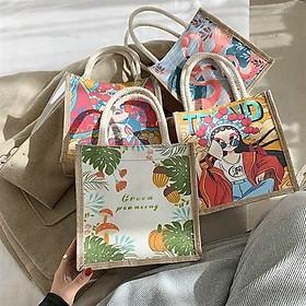 Túi xách cói in hình phong cách Vintage- Tặng kèm 1 mút lau chùi hàng xuất Nhật(Giao mẫu ngẫu nhiên)