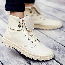 Giày Sneaker Nam Cao Cổ Gấp Thời Thượng Chất Liệu Khaki Canvas Đế Cao Su Cao Cấp Siêu Êm Chân Nhiều Màu và Nhiều Size Lựa Chọn