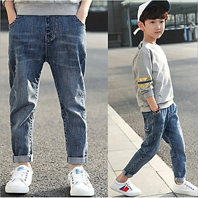 JL5Size110-160 (15-40kg)Quần jean cho bé trai lớnThời trang trẻ Em hàng quảng châu  - QUẦN BÉ TRAI