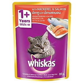Đồ Ăn Cho Mèo Lớn Whiskas Vị Thu & Cá Hồi 85g
