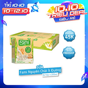 Thùng Sữa đậu nành Fami Nguyên Chất ít đường (200ml x 36 Hộp)