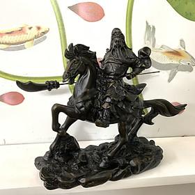 Tượng đá Quan Công cầm đao cưỡi ngựa phong thủy - Dài 25cm - Màu nâu đen - Đá composite