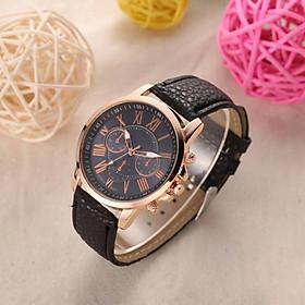 Đồng hồ thời trang nam nữ G1 mặt số la mã dây da,hiển thị giờ,chạy 3 kim.