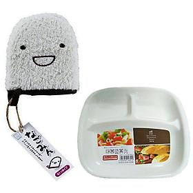 Combo Găng tay tắm bé cao cấp 100% cotton và Khay ăn chia 3 ngăn cho bé nội địa Nhật Bản