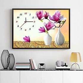 Tranh đính đá đồng hồ bình hoa ngọc lan tím 60x45cm