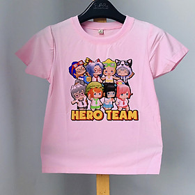 Áo thun trẻ em Hero Team bé gái - màu Hồng
