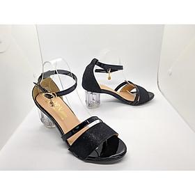 Sandal/ Giày Nữ, Giày Cao Gót Nữ Thời Trang Nữ Mùa Đen Ánh Kim Tuyến Phối Dây Chéo Bản Nhỏ Quai Cài Ngang, Đế Vuông Trong Suốt  Phong Cách Hàn Quốc CGPN0105-YN128