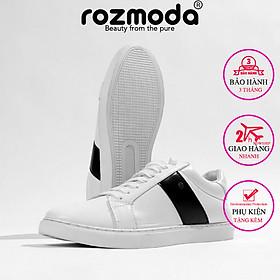Giày thể thao nam trắng kiểu dáng đơn giản năng động hottrend 2021 Rozmoda GI01