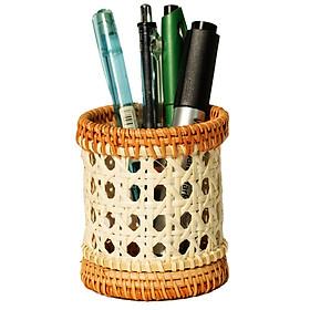 Ống cắm bút để bàn bằng mây tự nhiên (APH08-09), cắm viết thân thiện môi trường