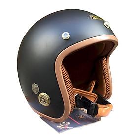 Mũ Bảo Hiểm 3/4 Napoli SH (Size L) - Đen Lót Nâu