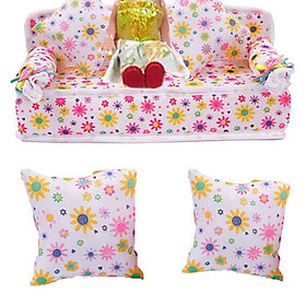 Fashion Hotsales  Mini Dollhouse Furniture Flower Soft Sofa Couch With 2 Cushions For Doll House Accessories