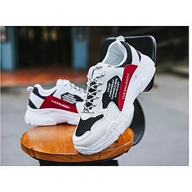 Giày Nam Thể Thao Sneaker Trắng Vải Dệt Đế Cao Su Nguyên Khối Siêu Êm Chân Phối Đen Đỏ Cực Chất Phong Cách Hàn Quốc (Hình thật) CTS-GN052-20