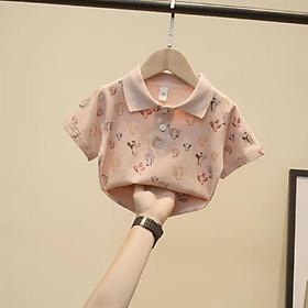 Áo POLO cao cấp hoạ tiết màu hồng trắng cho cả bé trai bé gái