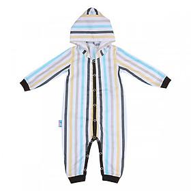 Bộ Bodysuit Dài Liền Nón Cài Giữa Họa Tiết Sọc Kẻ  Mihababy MBDS_SOC