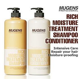 Bộ dầu gội - dầu xả dưỡng chất Mugens Rich Moisture Treatmen 2x1000ml + Móc khóa-2