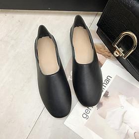 Giày Búp Bê Mũi Vuông Phối Lông Thời Trang Nữ