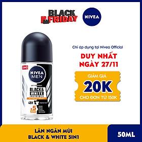 Lăn Ngăn Mùi NIVEA MEN Black & White Ngăn Vệt Ố Vàng Vượt Trội 5in1 (50ml) - 85392
