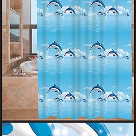 Rèm Phòng Tắm / Rèm Cửa Sổ Trằng Họa Tiết Cá Heo Xanh 180cm X 180cm Loại 1