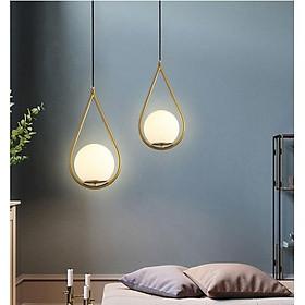 Combo đèn thả LAMES chao thủy tinh địa cầu, khung mạ vàng hình giọt nước - kèm bóng LED chuyên dụng (82).