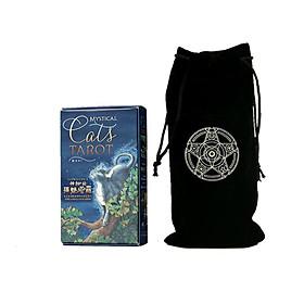 Combo Bộ Bài Bói Mystical Cats Tarot Cao Cấp và Túi Nhung Đựng Tarot