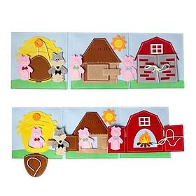 Sách vải giáo dục xuất khẩu BA CHÚ HEO CON  - Lá vải tương tác vừa học vừa chơi - dành cho bé 1-6 tuổi