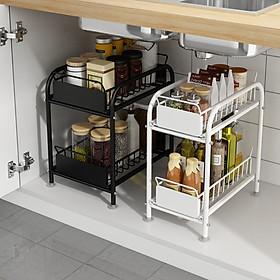 Kệ để đồ đa năng thiết kế trượt bằng thép carbon sơn tĩnh điện không gỉ, kệ gia vị nhà bếp, kệ trang trí, kệ mỹ phẩm tiện lợi VANDO