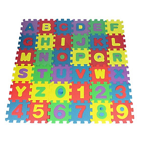 Colorful Alphabet and Numbers Foam Puzzle Play Mat 36 Tile Baby Crawling Rug