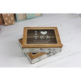 Hộp Gỗ Nhỏ chia 2 ngăn nắp kính - I LOVE TEA