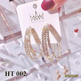 Khuyên tai, Bông tai, Hoa tai nữ xi bạc 925 phong cách HÀN QUỐC hottrend HT010
