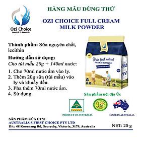 MẨU DÙNG THỬ - 20gr Sữa Bột Nguyên Kem Ozi Choice - Nhập Khẩu từ Úc