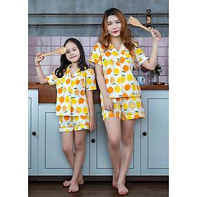 Đồ bộ Pijama mẹ và bé màu vàng quả cam