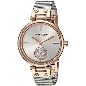 Anne Klein Women's AK/3001GPBL Swarovski Crystal Accented Gold-Tone and Blue Mesh Bracelet Watch