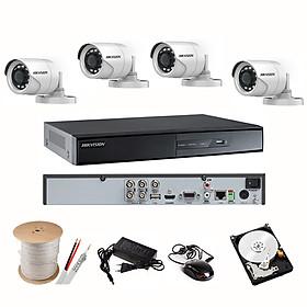 Trọn Bộ Camera HIKVISION 2.0MP - Full HD 1080P - Đủ Bộ 4 mắt 2.0MP, Đầu ghi vỏ Kim loại, Hdd 500Gb & Phụ kiện lắp đặt - Hàng chính Hãng