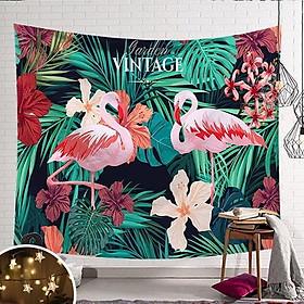 Vải treo tường hình hạc hồng rừng nhiệt đới - tặng kèm đèn sao