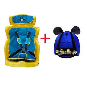 Ghế Ngồi Sau Xe Máy Beesmart X2 Có Tựa Đầu - Xanh + Tặng Nón bảo vệ đầu cho bé- Mẫu Ngẫu Nhiên