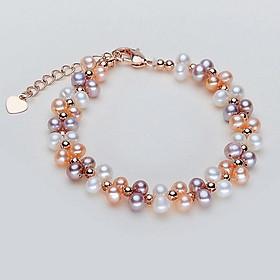Vòng Tay Ngọc Trai Mix Bạc S925 2li - Phối nhiều màu (trắng hồng tím), phù hợp mọi kích cỡ tay, hạt ngọc 4-5li sáng bóng đẹp, khóa bạc  - Mã CT2020 Thiết kế mới nhất năm nay