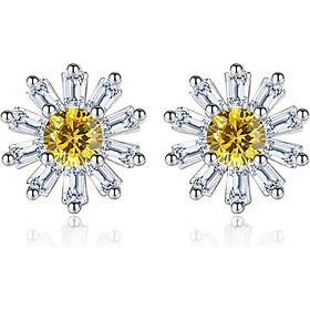 Bông tai nữ Hoa cúc pha lê vàng