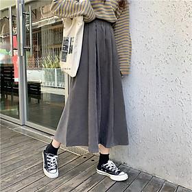 Chân váy dài Midi Khaki Ulzzang Quảng Châu VJD5