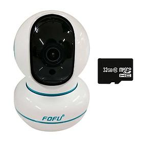 Camera Ip 2Mp Wifi 360 Độ Hd Fofu Quản Lý Bằng Cloud + Thẻ Nhớ 32G - Hàng Nhập Khẩu
