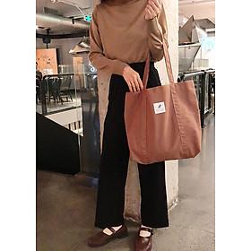 Túi vải tote đeo vai nữ Hàn Quốc thiết kế basic, size lớn. T023