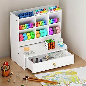 Hộp đựng bút, kệ bút nhiều ngăn BIBOTOYHB14 bằng gỗ Smartboard màu trắng sang trọng, dùng trang trí bàn làm việc và để được nhiều đồ dùng văn phòng