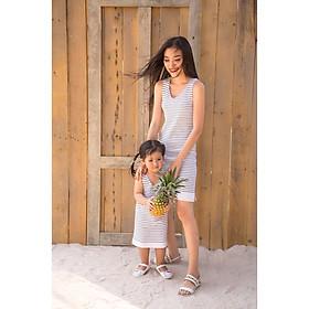 combo 2 đầm thun cotton mẹ và bé