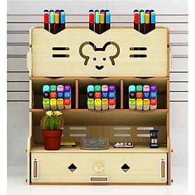 Hộp bút để bàn kệ đựng bút bằng gỗ HV10 - Tặng giá để điện thoại hình con thỏ bằng gỗ màu ngẫu nhiên